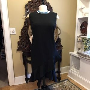 Calvin Klein-NWOT-20W Black Ruffle Midi Dress